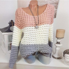 crewneck sweater, Round neck, Plus Size, knitted sweater