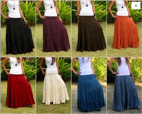 long skirt, Cotton, high waist, Elastic