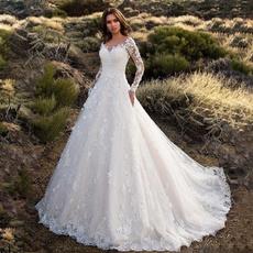 womenweddingpartydre, backlessweddinggown, Lace, Long Sleeve