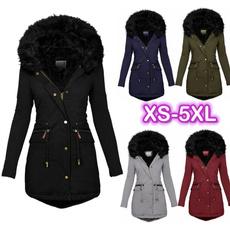 Plus Size, Long Sleeve, fur collar, padded