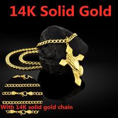 jesus, Cross necklace, Cross Pendant, 14kgoldnecklace