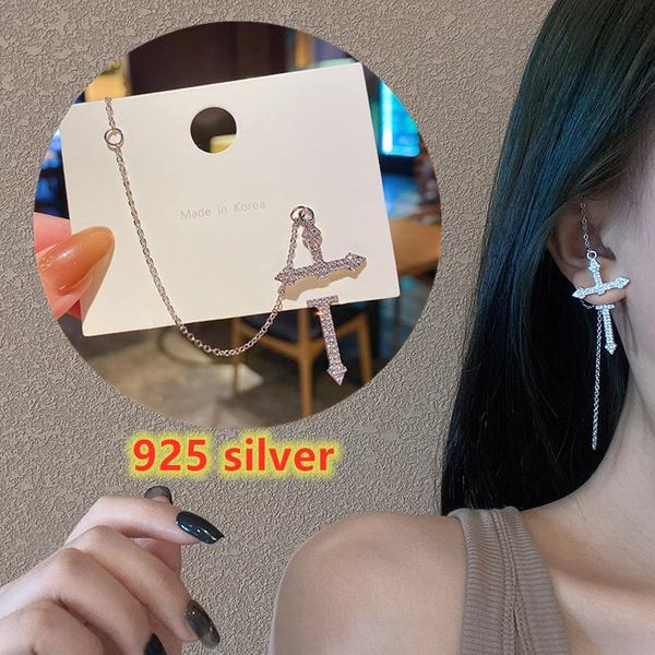 crossearring, DIAMOND, 925 sterling silver, Jewelry