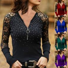 shirtsforwomen, Plus Size, sequinprintshirt, Lace