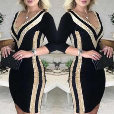 Deep V-Neck, Plus Size, Sleeve, Deep V-neck Dress