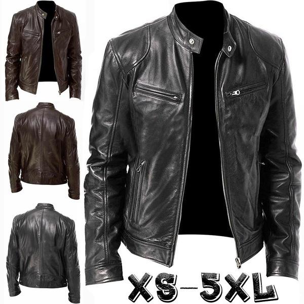 Stand Collar, brown, bikerjacket, Men