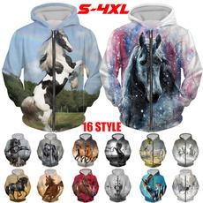 horsehoodie, 3D hoodies, printhoodie, Plus Size