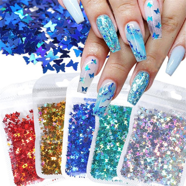 butterfly, Sparkly, Holographic, nailglitter