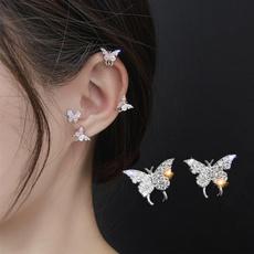 butterfly, Stud, earclipforwomen, butterfly earrings