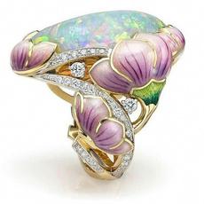 DIAMOND, gold, 18k gold ring, flowerring