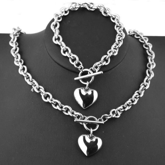 Rolo Style Charm Stainless Steel Love Bracelet Necklace