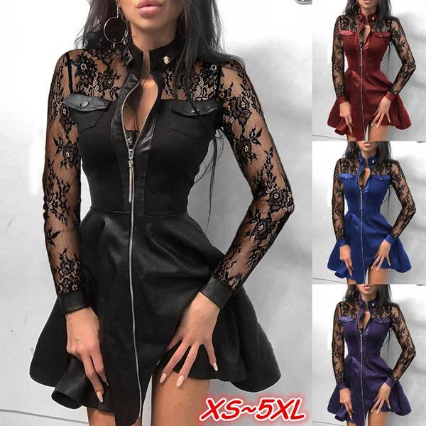 leather dress, Plus Size, Lace, ladies dress