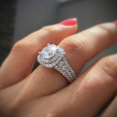 Sterling, White Gold, DIAMOND, 925 silver rings