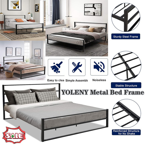 Yoleny Metal Bed Frame Queen Size Heavy, Heavy Duty Queen Bed Frame With Headboard