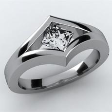 Sterling, DIAMOND, Princess, 925 silver rings