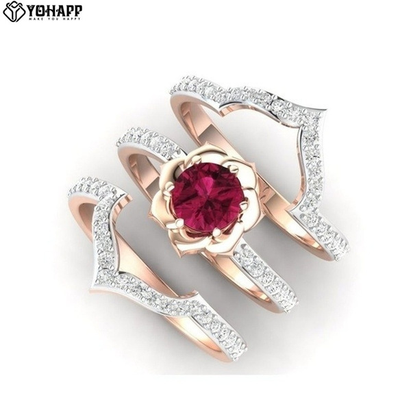 ringsset, ruby, wedding ring, gold