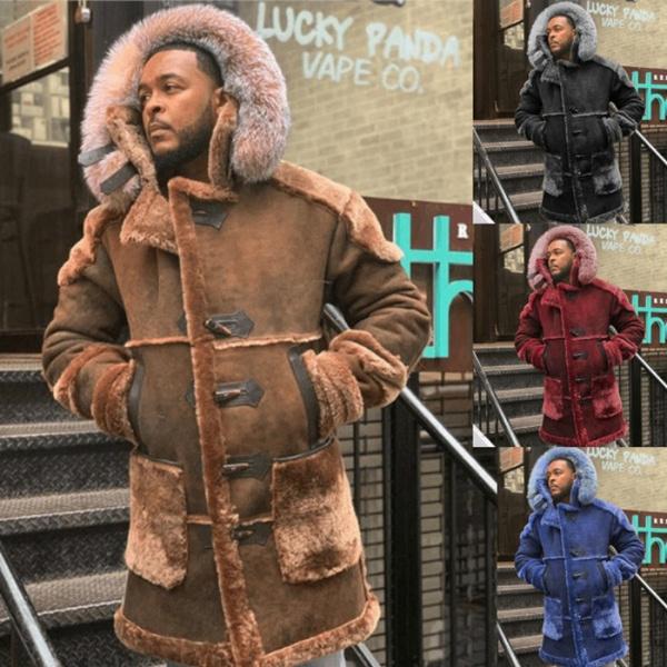 Turn-down Collar, men coat, Fashion, fur