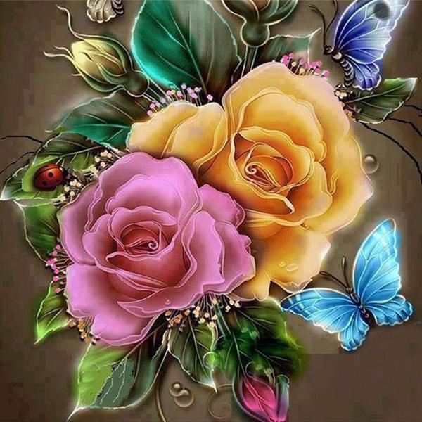 butterfly, DIAMOND, flowerdiamondpainting, Cross