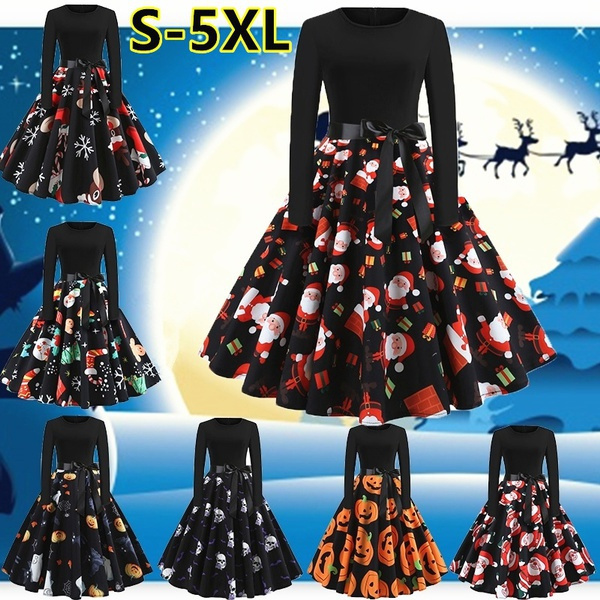 helloween, Plus Size, Print Dresses, Long Sleeve