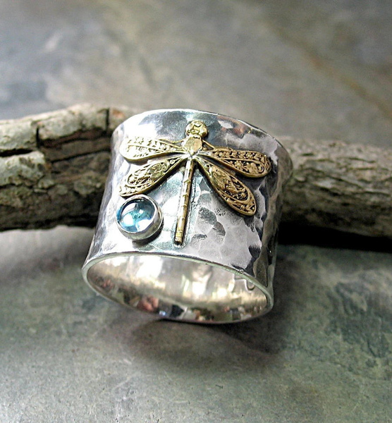 Sterling, dragon fly, wedding ring, 925 silver rings