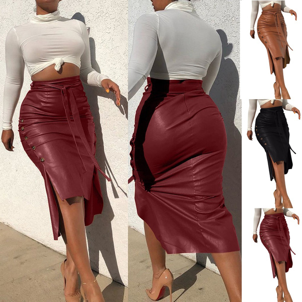 long skirt, Fashion, leather, slimfitskirt