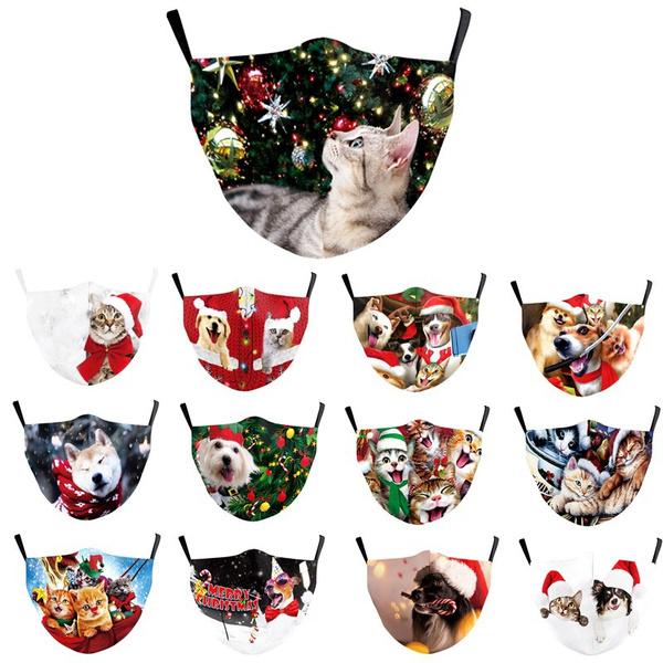 Funny, animalprintedmask, filtermask, Christmas