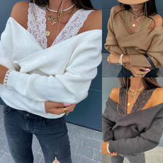 Fashion, off the shoulder top, Lace, solidcolorsweater