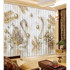 bedroom, golden, curtainstereoscopic, art