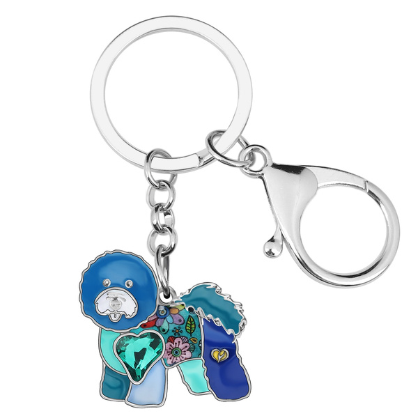 curlybichonfrize, petkeychain, carbagdecoration, Chain