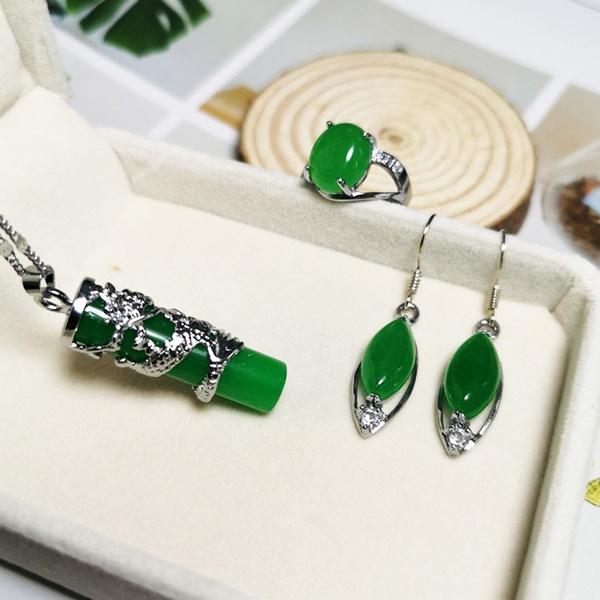 Sterling, Bridal Jewelry Set, Classics, jade
