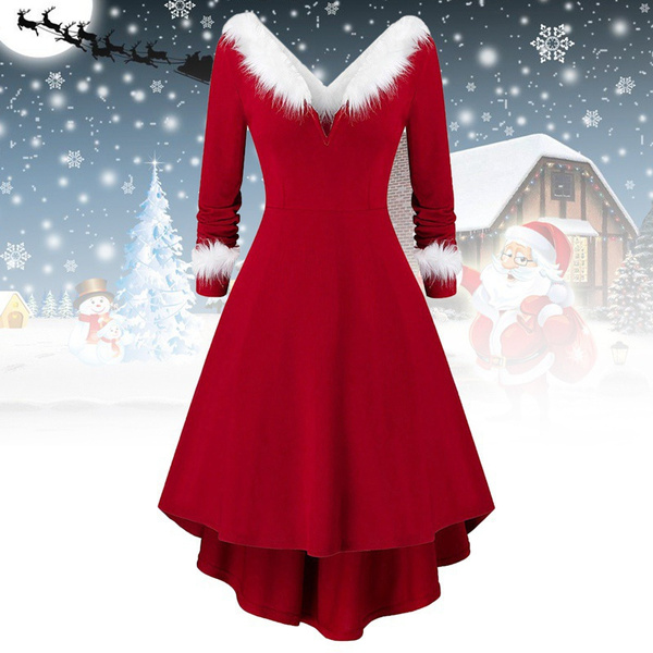 christmasdressesforwomen, ladydre, Plus Size, Deep V-neck Dress