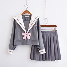 Gray, School, schooldresse, highschooluniform