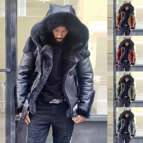 motorcyclecoat, fur coat, hooded, fur