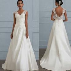 sleeveless, whiteweddingdre, Lace, long dress