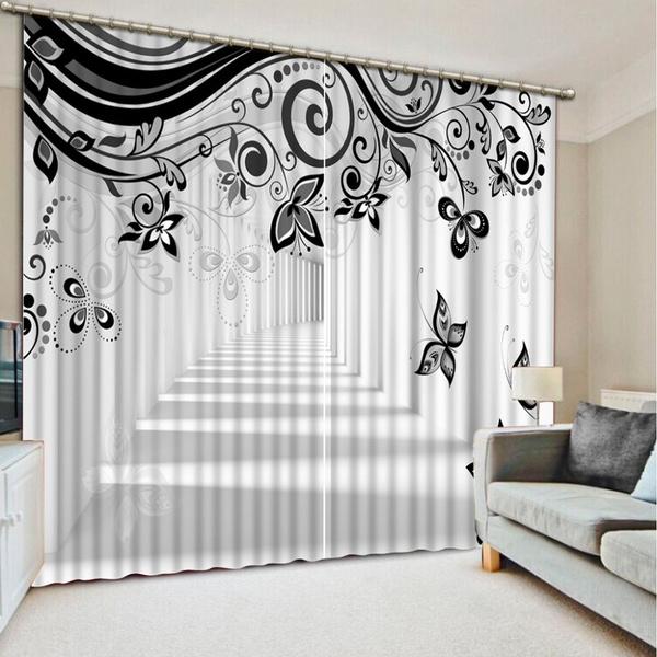 3dcurtain, cortinasparasala, blackandwhitecurtain, Luxury
