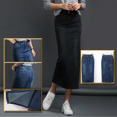 denim dress, Summer, long skirt, Vintage