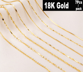 yellow gold, Chain Necklace, 18k gold, Gifts