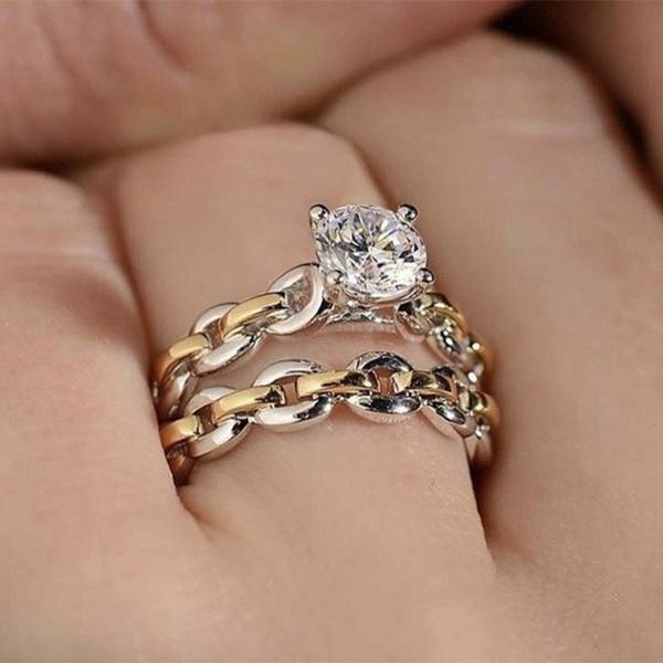 Sterling, DIAMOND, wedding ring, Chain