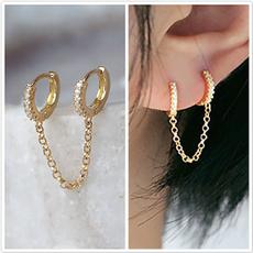 daintyearring, doublepiercedearring, Jewelry, gold