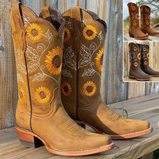 Plus Size, Leather Boots, Sunflowers, Cowboy