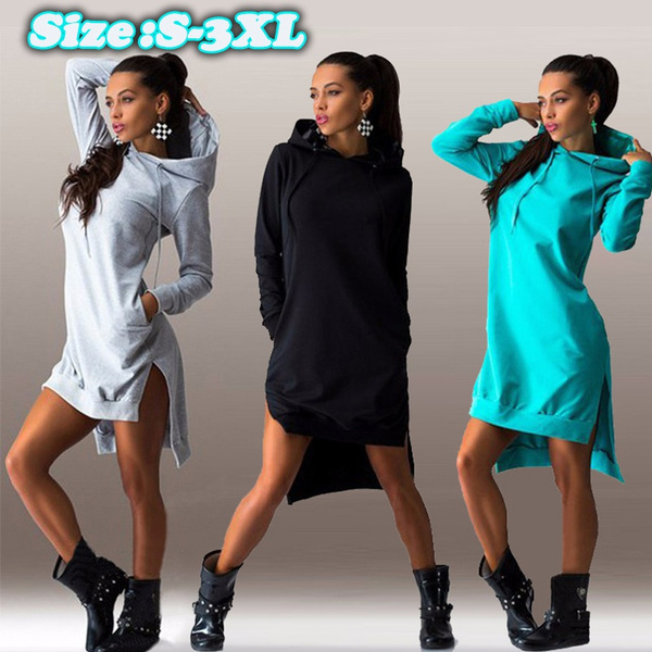 night dress, hooded, short dress, Long Sleeve