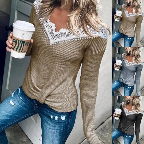 HoodiesWomen, Lace, loose shirt, Long sleeved