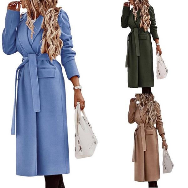 Turn-down Collar, Fashion, longcoatsforwomen, Elegant