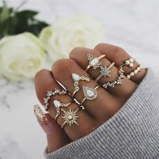 bohoring, crystal ring, Star, Jewelry