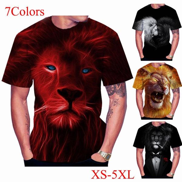 lion3dprintingtshirt, Summer, Fashion, tshirt men