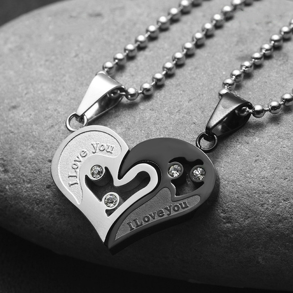 Steel, Heart, Chain Necklace, goldsilverblue