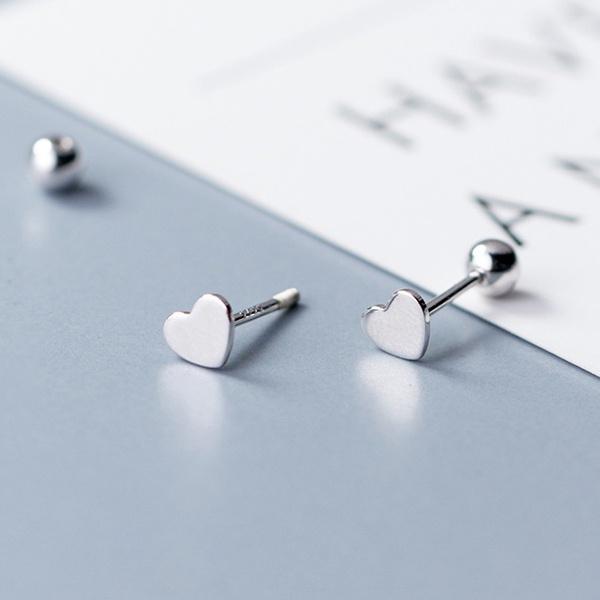 Sterling, Heart, Love, Silver Earrings