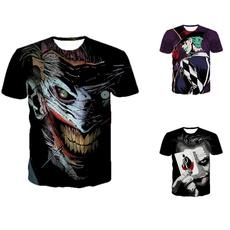 shortsleevedroundnecktshirt, clownandbatmantshirt, 3dprintedtshirt, clownprintedtshirt