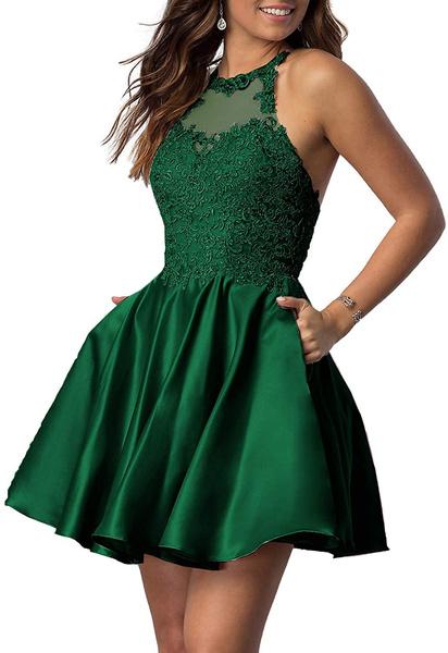 Woman, Lace, Halter, Dresses