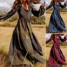 sleeve v-neck, dressforwomen, Fashion, Plaid Dress