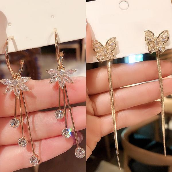 aretesmujer, butterfly, DIAMOND, gold